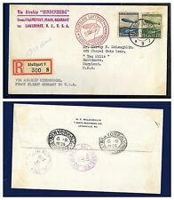 1936 Stuttgart Germany Hindenburg Zeppelin first flight cover to USA - PRACHT !