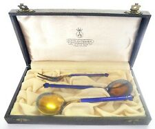 KLAVENESS LINE David-ANDERSEN Sterling Enamel Set~Boxed Norway Silver Fork Spoon