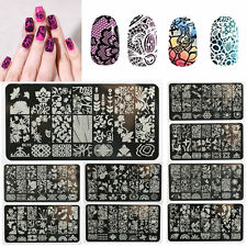 Nail Art Stamp Stencil Stamping Template Plate Set Tools Stamper Design Kit @fa