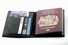 Premium Quality New Black Leather Travel Wallet Organiser Passport Cover Holder