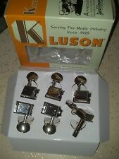 Genuine Kluson 6 In Line Locking Nickel Tuners Double Row SD9105MN DR/L New