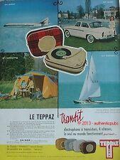 PUBLICITE TEPPAZ ELECTROPHONE TRANSIT BATEAU AUTO AVION DE 1959 AD PUB VINTAGE
