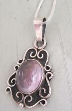 VINTAGE HANDMADE STERLING  PENDANT W/ AMETHYST CABOCHON APPLIED BEADS & WIREWORK