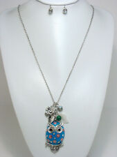 """30"""" Silver Toned Necklace With Blue Owl Charm and Leaf Charms W Stud Earrings"""