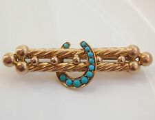 Antique Victorian 15ct Gold Turquoise set Horseshoe Motif Brooch c1875