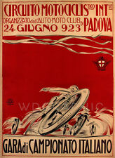 MOTORCYCLE RACING,1923 Italian Vintage Reproduction Canvas Print 20x28