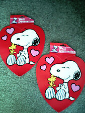 SNOOPY & WOODSTOCK HEART VALENTINES DAY DOUBLE SIDED WALL or WINDOW DECORATIONS!