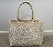 Oscar de la Renta Nieman Marcus Target Large Ivory Floral Canvas Tote Handbag
