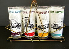 Antique Autos Drinking Glasses Tumblers set of 8 with Carrier Rack Anchor Hockin
