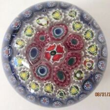 Vintage Murano Art Glass Paperwieght - Red/White/Blue Circles Millefiori Flowers