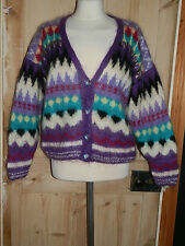 VINTAGE 1980'S HAND KNITTED BRIGHT CRAZY PATTERN CARDIGAN MOHAIR WOOL MIX 12-14