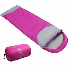 Envelope Sleeping Bag Camping Hiking Travelling Sleep Gear w Carry Bag Hot Pink