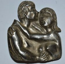 Vintage NUDE Naked Sexy Couple Hugging Kissing Sex Feeling Up Belt Buckle Rare