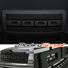 FOR 2009-2014 FORD F150 RAPTOR STYLE ABS MATTE BLACK FRONT GRILL GRILLE w/ SHELL