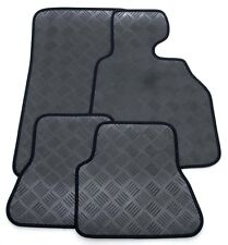 3mm Thick Rubber Car Mats for Audi A4 Cabriolet 01-07 - Black Ribb Trim