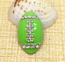 Green Rugby Rhinestone Chunk Snap Button fit for Noosa Necklace Bracelet PUC153