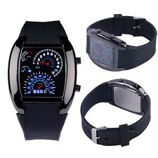 HOT Cool Men RPM Turbo Sport Watch Car Speed Meter Dial Flash LED Wrist Watch BD