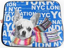 FUZZY NATION Black Blue Pick a Breed Chihuahua DOG Print LAPTOP IPAD Sleeve Case