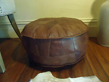 New Antique Tan Leather Ottoman Pouffe Pouf Footstool