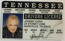 Johnny Cash - The Man In Black - Tennessee Drivers License  Novelty