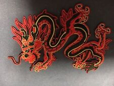 Iron On Patch -Red Black Chinese Dragon