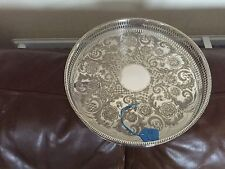 "LOVELY SILVER PLATED CIRCULAR GALLERY TRAY 10.25""   (VINER'S OF SHEFFIELD) TR43"