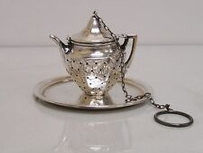 Sterling Silver Webster Tea Pot Infuser Strainer Steeper Ball with Sterling Tray