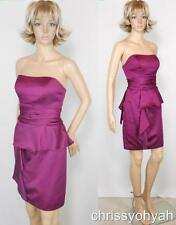 David's Bridal Sangria Wine Satin Strapless Asym Peplum Bridesmaid Dress 84629 S