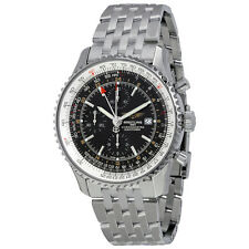 Breitling Navitimer World Mens Stainless Steel Watch with Black Dial