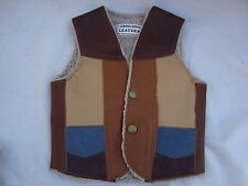 Western Cowboy Vest Sz 2 LEATHER Patchwork Lined 2 Pockets Snap front Brand NEW