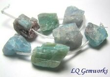 7 BLUE GREEN TOURMALINE Paraiba Indicolite 11-14mm Rough Nugget Beads NATURAL