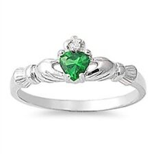 Ladies 925 Sterling Silver Emerald CZ Love Heart Irish Claddagh Ring Size 5 / J