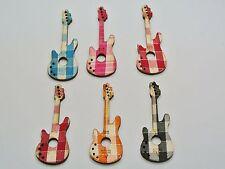25 Mixed Color Guitar FlatBack Sewing Flatback Wood Cut Pendants 50mm Scrapbook