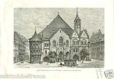 Market Place Rathaus Roland fountain Hildesheim Germany OLD GRAVURE  PRINT 1889