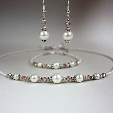 Ivory cream pearl crystal collar necklace bracelet earrings silver jewellery set