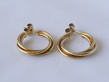 Pair of two colour hoop earrings for pierced ears, 18ct. yellow gold, 5.5 grams