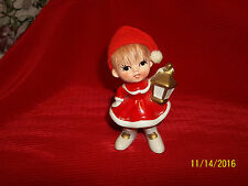 Vintage  Napco Christmas Girl w Lantern Red Dresse w/Wool Cap Red Hair Figurine
