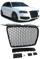 SPORTS GLOSS BLACK HONEY COMB WEB RS3 LOOK GRILL FOR AUDI A3 8P 2005-2008