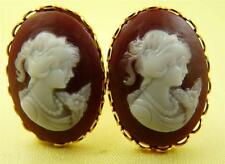 Brown & White Ladies Head Cameo Oval Cufflinks 25x18 MM