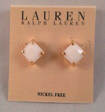 NWT Ralph Lauren White & Gold color Earrings, Nickel Free w/ push back fastening