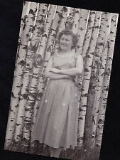 Antique Photograph Woman Standing By Tons of Birch Tree Trunks Playland Park '55