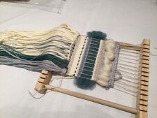 Weaving Kit with Wooden Loom - green/grey/cream
