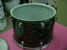 "Vintage  LUDWIG  Black Diamond Pearl 17"" head x12"" Deep Tom Drum 16 Lug No Res#8"
