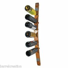 Wine Barrel Stave Wine Bottle Rack holds 6 Wine Bottles, Wall Mount, Made By WBC