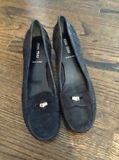 Miu Miu Black Suede Kitten Heel Penny Loafer Shoes Size 6