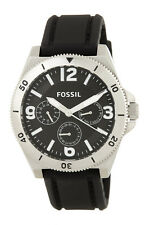 FOSSIL MEN WATCH Chronograph BQ1720 WAKEFIELD Luminous Analog Black Silicon $135