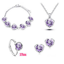 18K Platinum Plated Swarovski Element Crystal Jewellery Necklace And Earrings