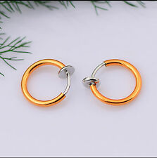 2pcs Colorful Non Piercing Fake Clip On Septum Clicker Nose Ear Lip Ring Hoop
