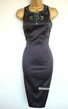 KAREN MILLEN JEWEL BEADS OPEN BACK DRESS BLACK KM Size UK 8 EU 34