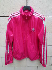 Veste à capuche ADIDAS rétro vintage girl femme rose argenté tracktop jacket 42